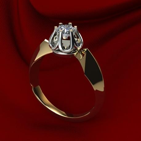 Кольцо с жёлтым и белым золотом