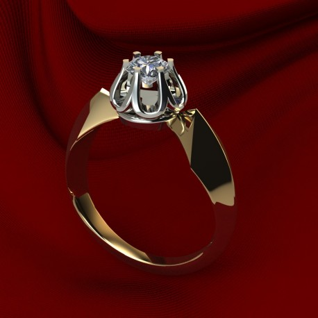 Ring yellow and white gold