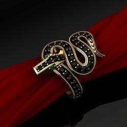 Кольцо Змея c чёрными бриллиантами