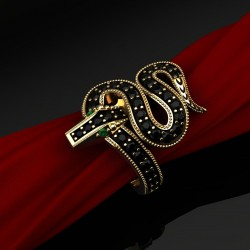 Ring Snake with Black Diamonds