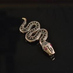Подвеска змея с чёрными бриллиантами